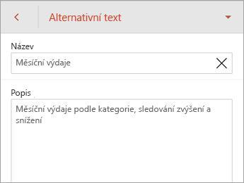 Příkaz Alternativní text na kartě Tabulka