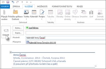 Odeslání kalendáře e-mailem kolegovi