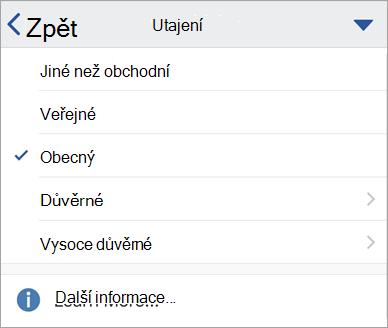 Snímek obrazovky popisků citlivosti v Office pro iOS
