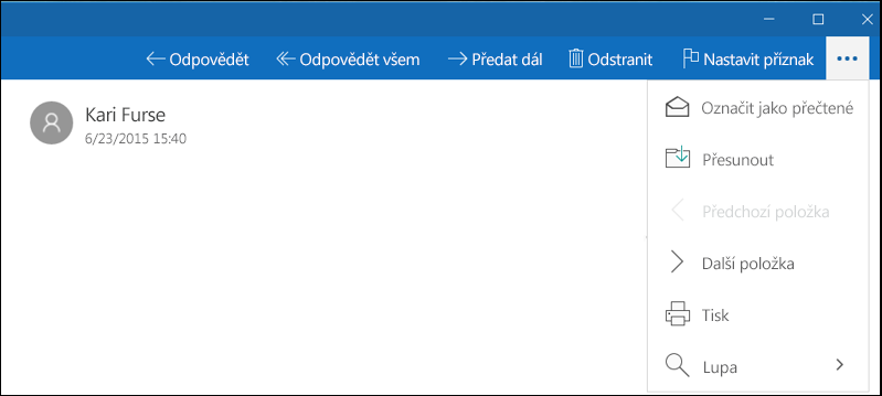Další akce s e-mailem v aplikaci Pošta