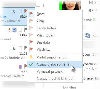 Příkaz Označit jako splněný v nabídce zobrazené po kliknutí pravým tlačítkem myši v seznamu zpráv