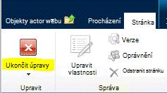 Tlačítko Ukončit úpravy na kartě Stránka