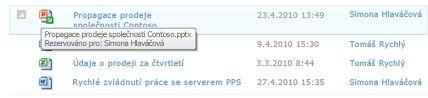 Popis zobrazený pod ikonou rezervovaného souboru. Umožňuje uživateli zjistit název souboru a uživatele, který si jej rezervoval.
