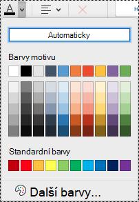 Rozevírací nabídka barvy písma ve OneNotu pro Mac