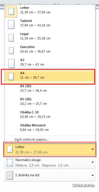 Under Paper size, click the arrow to the right and select A4