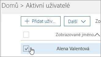 Výběr uživatelského jména, které chcete změnit