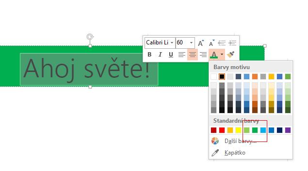 Vyberte text, který chcete skrýt, a klikněte na barvu pozadí ve voliči Barva písma.