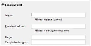 Zadání e-mailové adresy ahesly pro Exchange