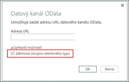 Power Query – Vylepšený konektor OData – možnost importu sloupců otevřeného typu z datových kanálů OData