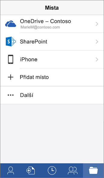 Snímek obrazovky Místa v mobilní aplikaci Word