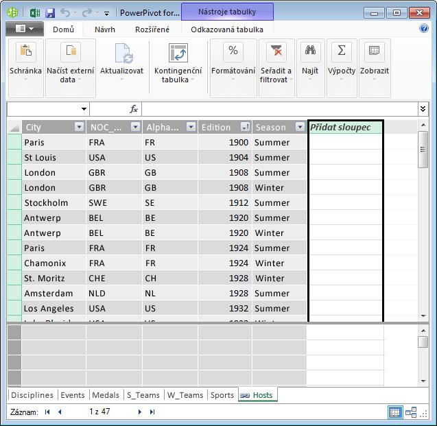 Použití sloupce s názvem Přidat sloupec k vytvoření počítaného pole pomocí jazyka DAX