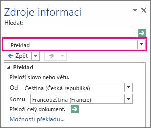 Možnosti překladu v podokně zdroje informací