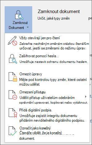 V nabídce Zamknout dokument ve Wordu for Office 365