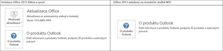 Obrázek, který ukazuje, jak poznat, jestli je instalace Office 2013 typu Klikni aspusť, nebo používá Instalační službu MSI