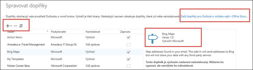 Spravovat doplňky v Outlooku