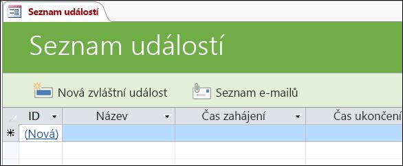 Formulář seznamu událostí v šabloně accessové databáze Události