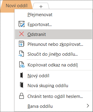 Snímek obrazovky s místní nabídkou pro přejmenování oddílu