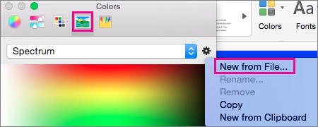 Choose the picture icon to select a color from a file
