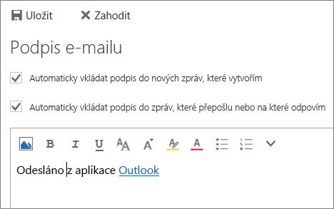 Snímek obrazovky s podpisem.