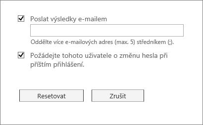 Poslání hesla pro resetování e-mailem a donucení uživatele ke změně hesla