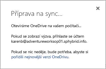 Snímek obrazovky s dialogovým oknem Připravuje se synchronizace při nastavování synchronizace OneDrivu pro firmy