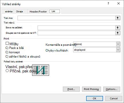 Možnosti karty listu pro nastavení stránky v Excelu