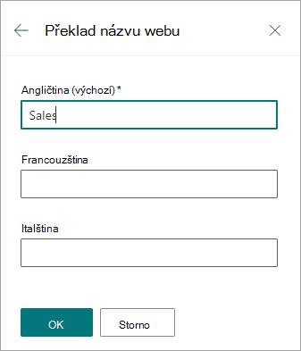Přeložit název webu