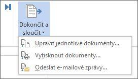 Snímek obrazovky s na kartě korespondence ve Wordu zobrazující příkaz Dokončit a sloučit a jeho nastavení.