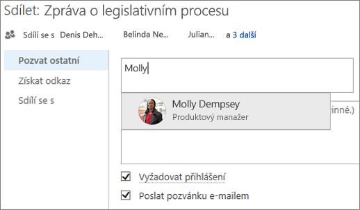 Snímek obrazovky se sdílením souboru na OneDrivu pro firmy