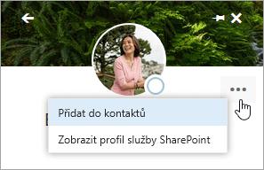 Snímek obrazovky s kurzorem na možnosti Přidat do kontaktů v nabídce pro další možnosti.