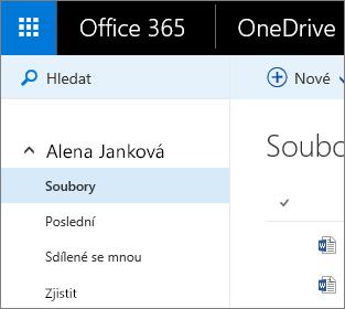 Snímek obrazovky Zobrazení pro soubory v OneDrivu pro firmy