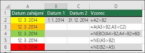 Příklady používání funkcí A, NEBO aNE k otestování podmíněného formátování