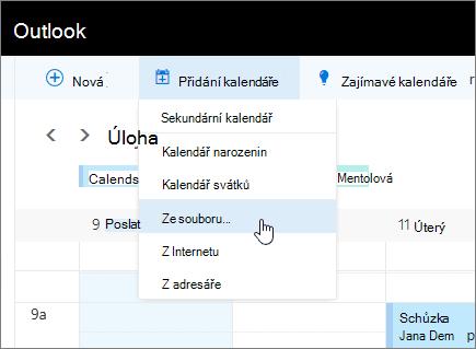 Snímek obrazovky přidání seznamu kalendáře s z vybraný soubor.