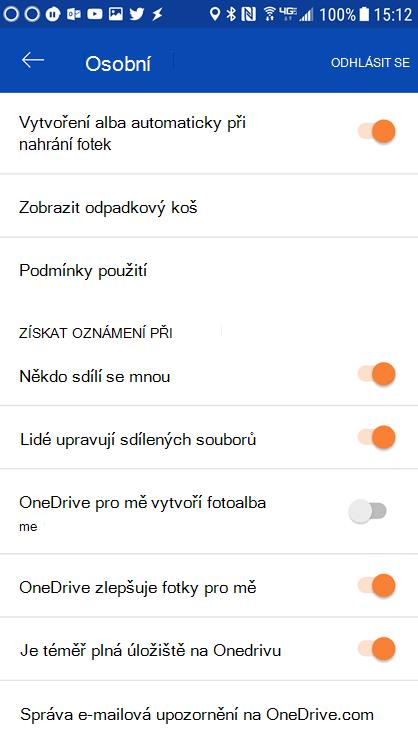 Pokud chcete nastavit oznámení, přejděte do nastavení aplikace OneDrive pro Android.