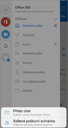 Obrazovka nastavení Outlooku s možností přidat sdílenou poštovní schránku