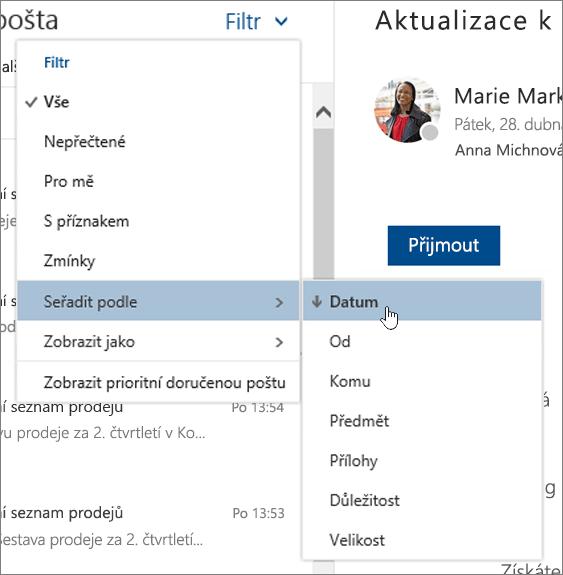 Snímek obrazovky s filtrovat podle vybrána nabídka řazení