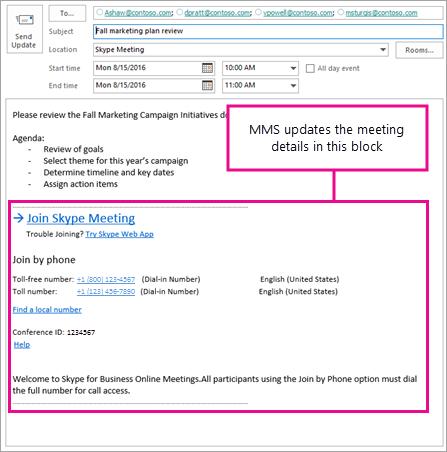 Blok schůzky, který aktualizuje tak, že MMS