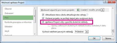 Karta Plán v dialogovém okně Možnosti aplikace Project