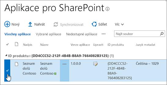 Aplikace pro sharepointový Katalog aplikací svybranou aplikací