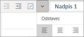 Zarovnání odstavců doleva ve OneNotu pro Windows 10