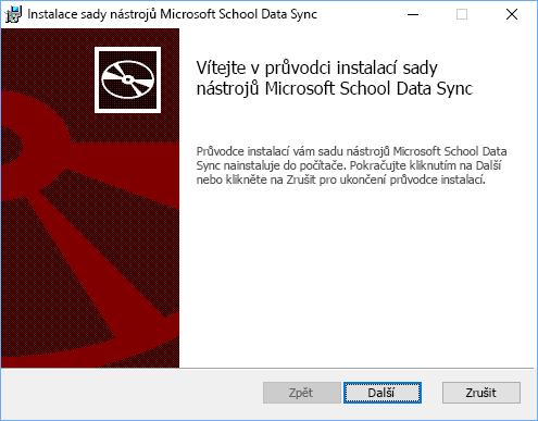Na úvodní stránce instalace sady nástrojů Microsoft School Data Sync klikněte na Další.