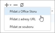 Snímek obrazovky s možnostmi, které jsou k dispozici na panelu nástrojů Spravovat doplňky, včetně přidání, odstranění a aktualizace. Jsou zobrazené možnosti přidání, včetně možnosti Přidat z Office Storu, Přidat z adresy URL a Přidat ze souboru.