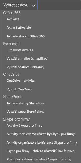 Výběr dostupných sestav Office 365