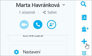 Snímek obrazovky tlačítka Nový konverzace