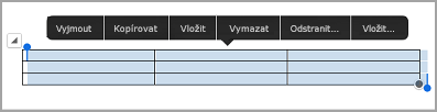 panel příkazů tabulky iPad