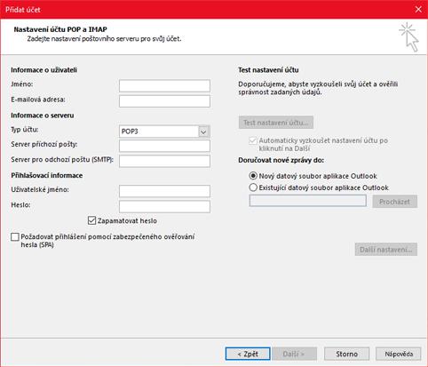 Zadejte informace o serveru POP nebo IMAP.