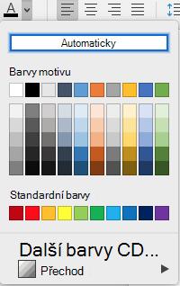 Nabídka pro výběr barvy písma ve Wordu pro Mac