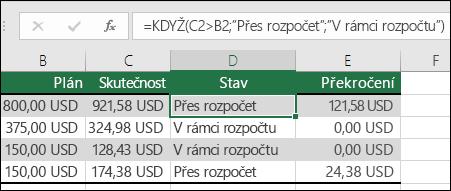 """Vzorec v buňce D2 je =KDYŽ(C2>B2;""""Překročení rozpočtu"""";""""V rámci rozpočtu"""")"""