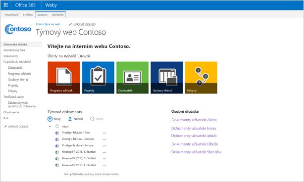 Snímek obrazovky přizpůsobeného týmového webu s podřízeným webem