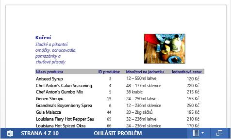 Vložený soubor PDF katalogu produktů zobrazený ve Word Web Appu